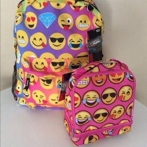 Other - Rainbow color EMOJI SCHOOL BACKPACK LUNCH BOX SET